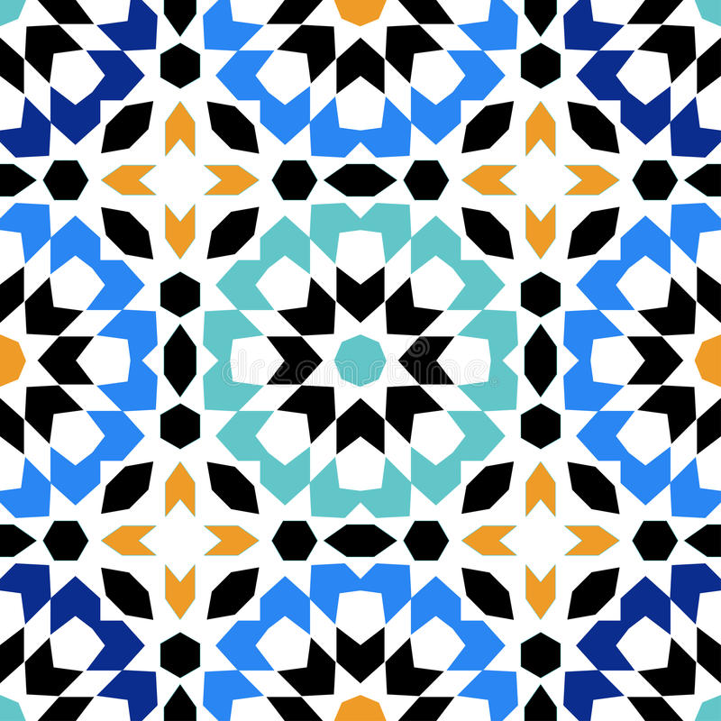 Gorgeous seamless pattern from blue Moroccan tiles, ornaments. Can be used for wallpaper, pattern fills, web page background, surface textures vector illustration