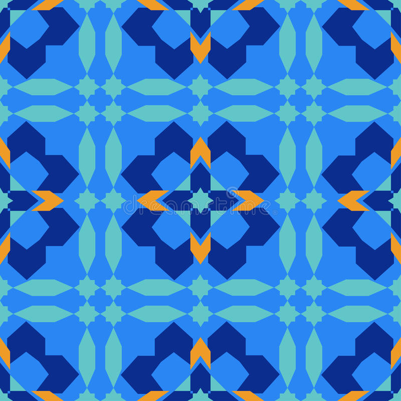 Gorgeous seamless pattern from blue Moroccan tiles, ornaments. Can be used for wallpaper, pattern fills, web page background, surface textures royalty free illustration