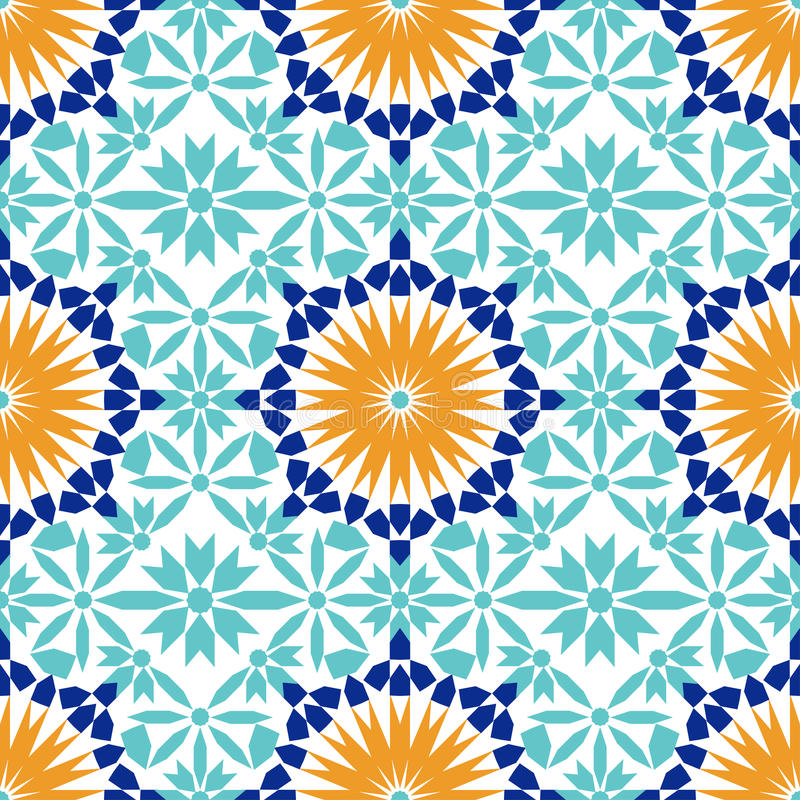 Gorgeous seamless pattern from blue Moroccan tiles, ornaments. vector illustration