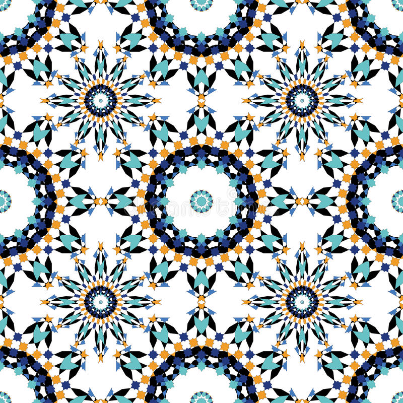 Gorgeous seamless pattern from blue Moroccan tiles, ornaments. stock photography