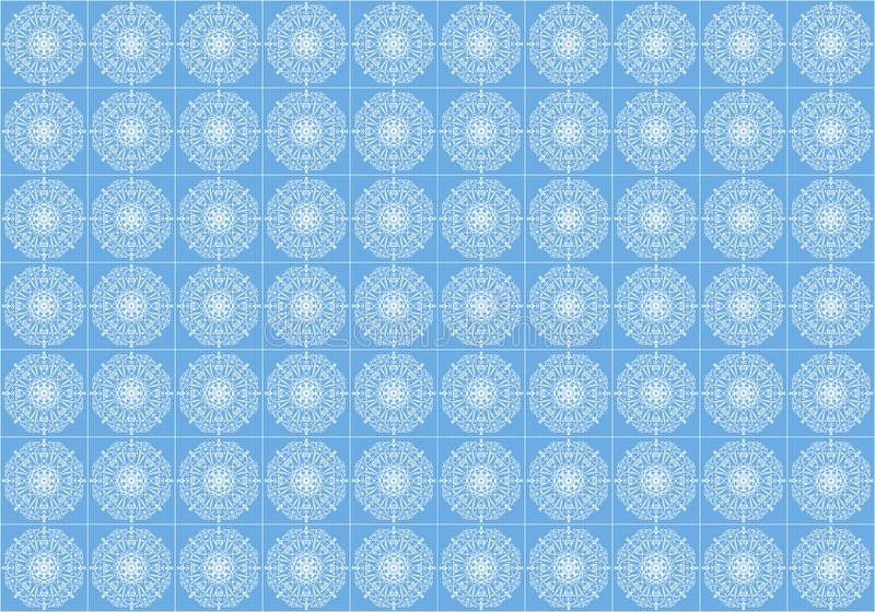 A stylized white ornament on a blue tile for the floor royalty free illustration
