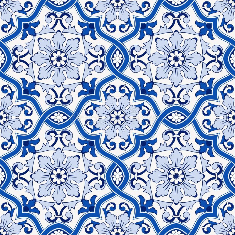 Gorgeous seamless pattern from dark blue and white Moroccan, Portuguese tiles, Azulejo, ornaments. Can be used for. Wallpaper, pattern fills, web page royalty free illustration
