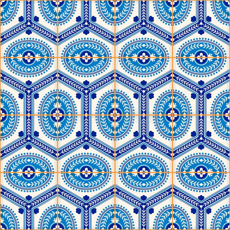 Gorgeous seamless pattern from dark blue and white Moroccan, Portuguese tiles, Azulejo, ornaments. Can be used for wallpaper, pattern fills, web page royalty free illustration