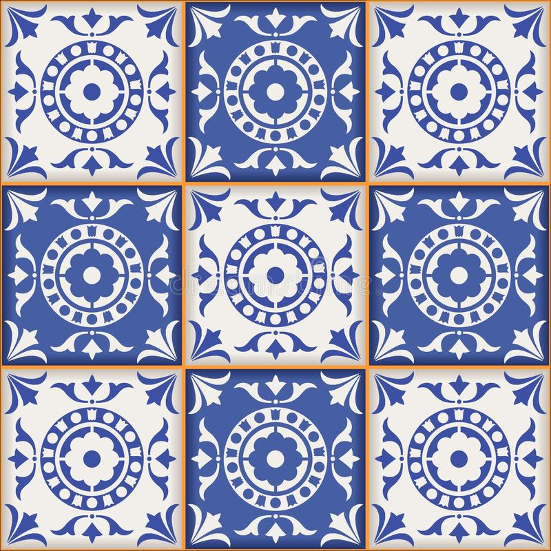 Gorgeous seamless pattern from dark blue and white Moroccan, Portuguese tiles, Azulejo, ornaments. stock illustration