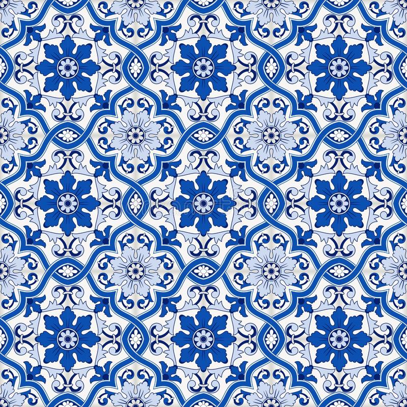 Gorgeous seamless pattern from dark blue and white Moroccan, Portuguese tiles, Azulejo, ornaments. Can be used for stock illustration
