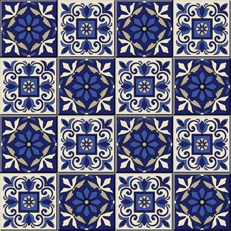 Gorgeous seamless pattern . Moroccan, Portuguese tiles, Azulejo, ornaments. stock illustration