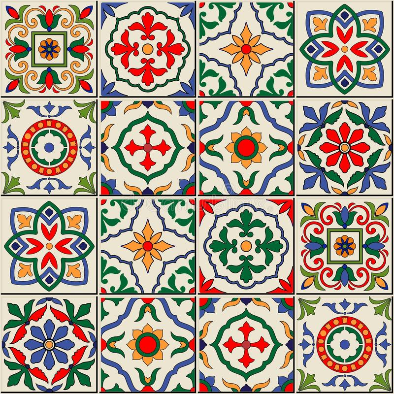 Gorgeous seamless pattern . Moroccan, Portuguese tiles, Azulejo, ornaments. royalty free illustration