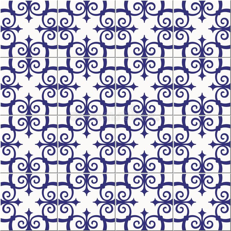 Gorgeous seamless pattern white blue Moroccan, Portuguese tiles, Azulejo, ornaments. Can be used for wallpaper, pattern. Fills, web page background,surface royalty free illustration