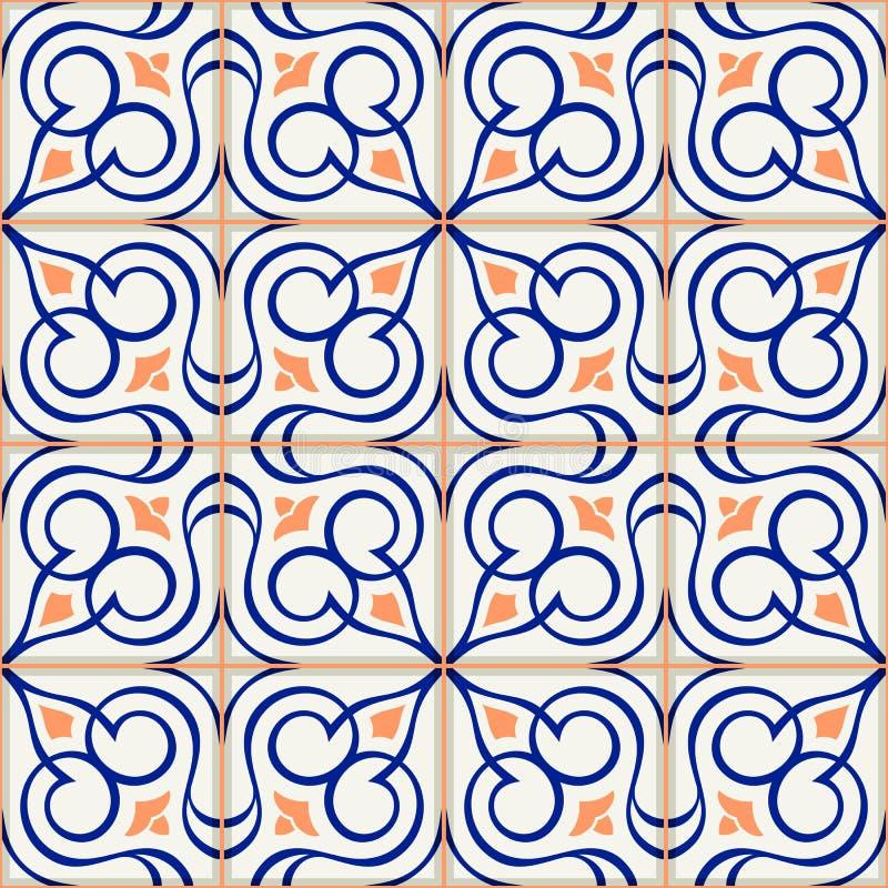 Gorgeous seamless pattern white Turkish, Moroccan, Portuguese tiles, Azulejo, Arabic ornament. Islamic art. stock illustration
