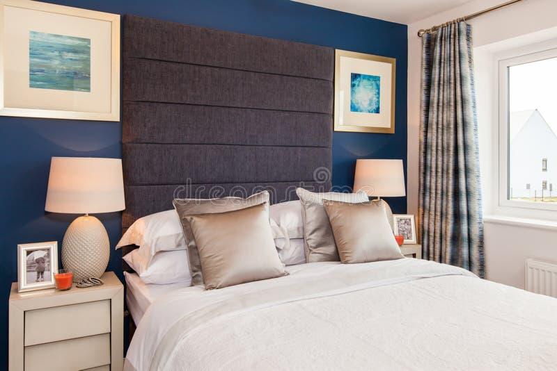 Gorgeous show home bedroom interior stock photo