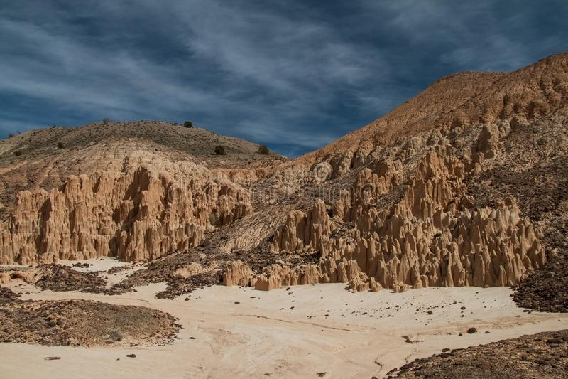 Gorgeous sky and landscape of Cathedral Gorge State Park in Nevada stock image