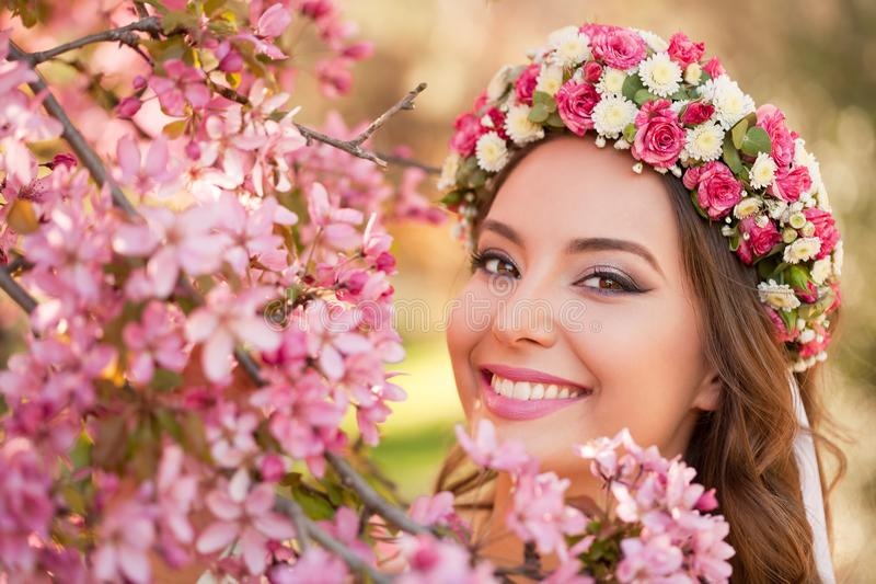 Gorgeous spring makeup woman. Portrait of a gorgeous spring woman outdoors in nature royalty free stock photos