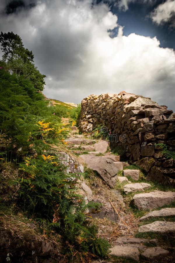 Gorgeous stairway to heaven or stone steps in the Lake District National Park in Cumbria royalty free stock photos