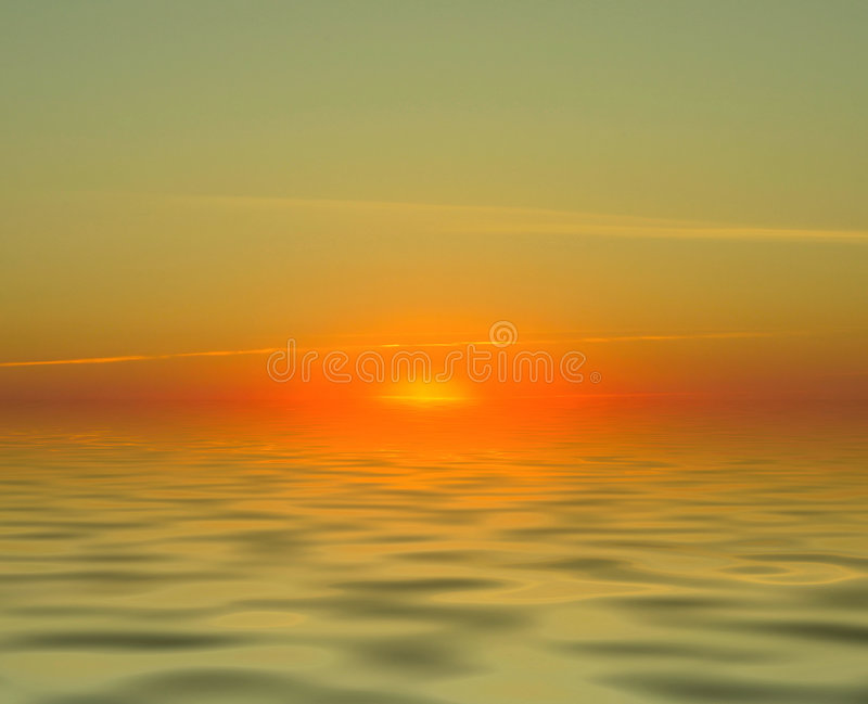Gorgeous sunset. Simple gorgeous sunset over water with no landscape elements royalty free stock image