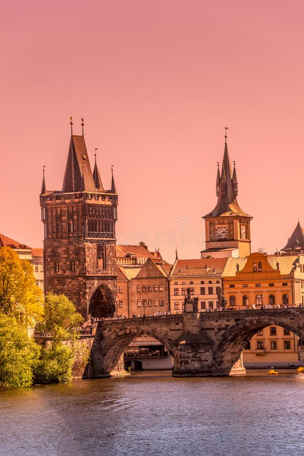 Gorgeous sunset over the old town Charles Bridge Tower Gateway in Prague, Czech Republic, summer time stock photo