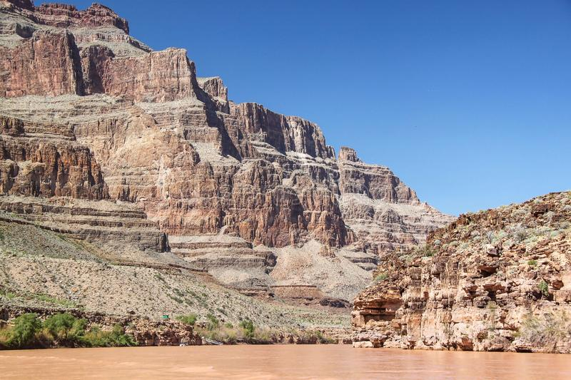 Gorgeous view on Colorado river and  Cliff of Grand Canyon, Arizona.Beautiful nature landscape backgrounds royalty free stock photos