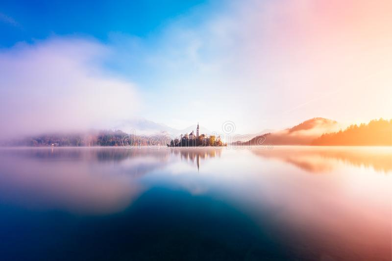 Bled Lake in the surrise stock photo