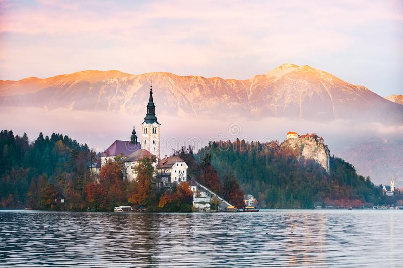 Bled Lake in the sunset royalty free stock image