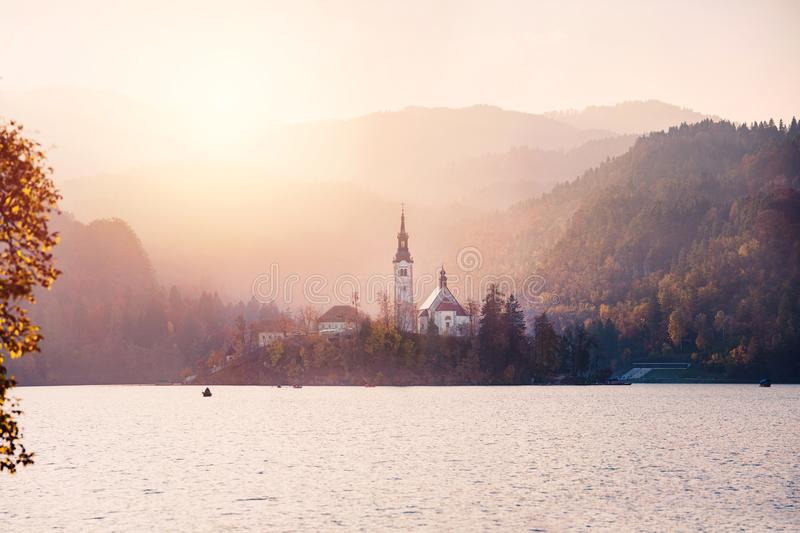 Bled Lake in the sunset royalty free stock photos