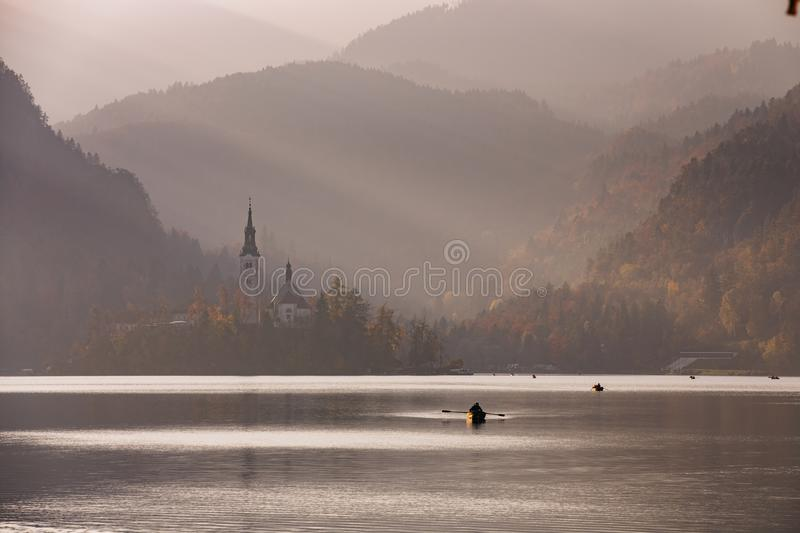 Bled Lake in the sunset with boat stock images