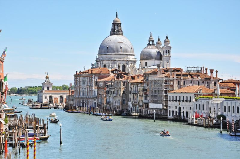 Gorgeous view of Grand Canal and Basilica Santa Maria della Salute in Venice royalty free stock photos