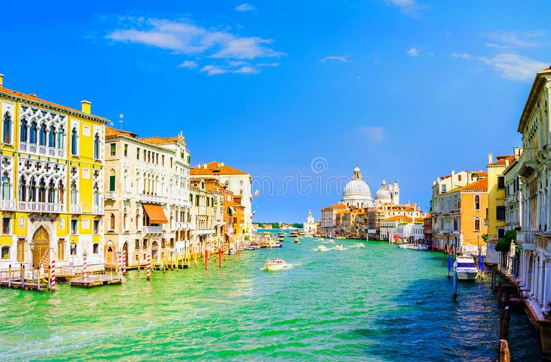 Gorgeous view of the Grand Canal and Basilica Santa Maria della Salute, Venice, Italy royalty free stock photo