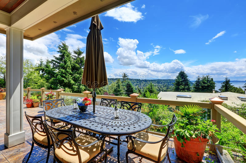 Gorgeous view from luxury house terrace royalty free stock photo
