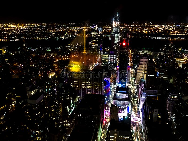 New York Cityscape Landscape Night Time. A gorgeous view of the New York City as seen from above. Magical colors embodying the darkness royalty free stock images