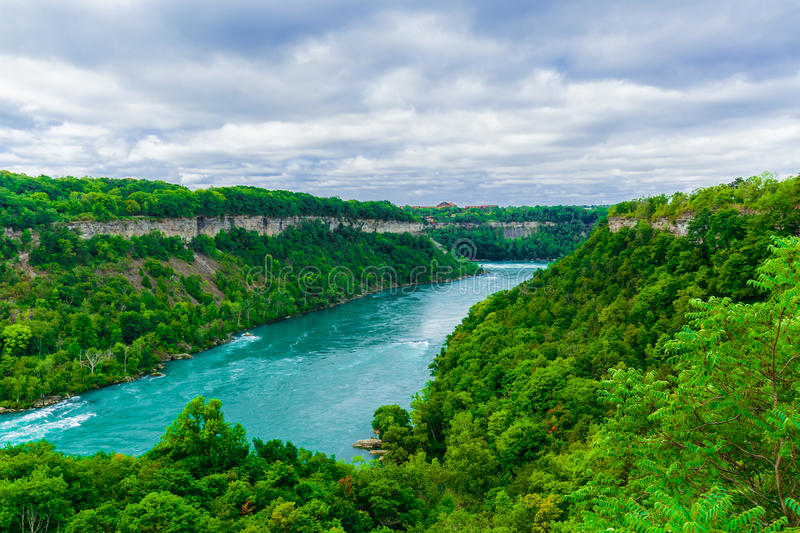 Gorgeous view of Niagara Falls river with torrent of water abruptly changes direction stock image