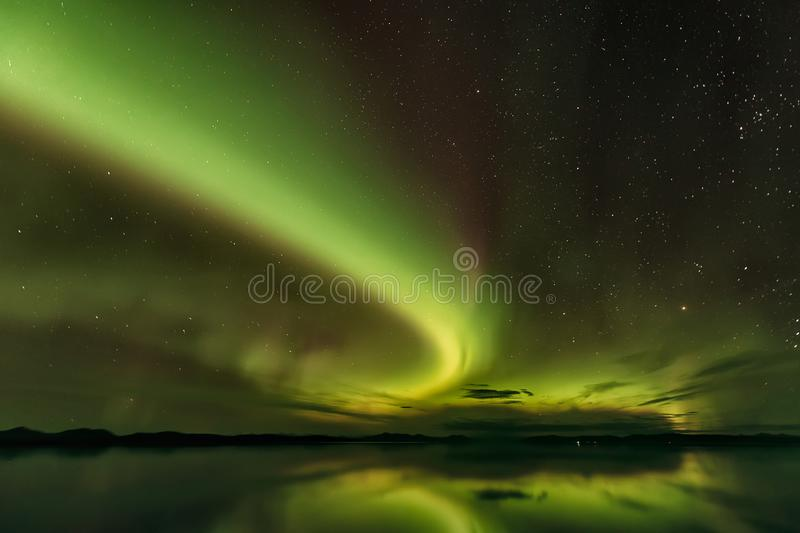Gorgeous view of Northern lights in Alaska stock photography