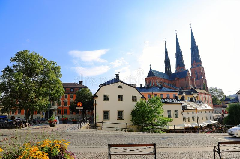 Gorgeous view on town street with cathedral on background. Gorgeous blue sky with white clouds on a summer day. Tourism / travel c. Oncept. Europe, Sweden stock images