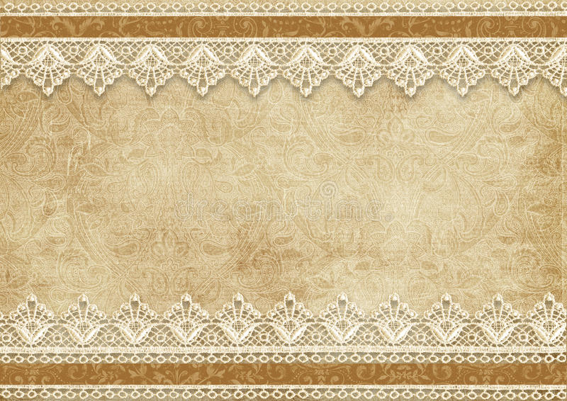 Gorgeous vintage background with lace stock illustration