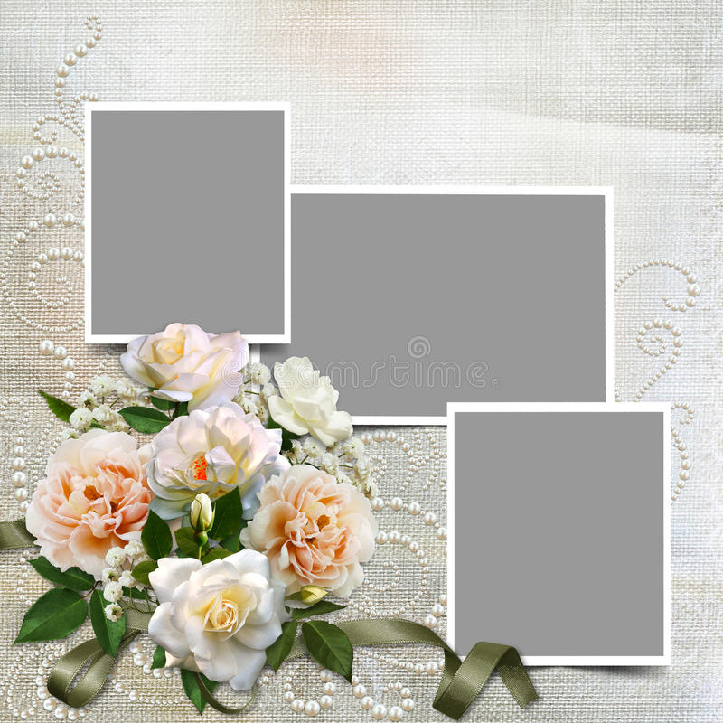 Gorgeous Vintage Background With Roses, Pearls And Frames Stock ...