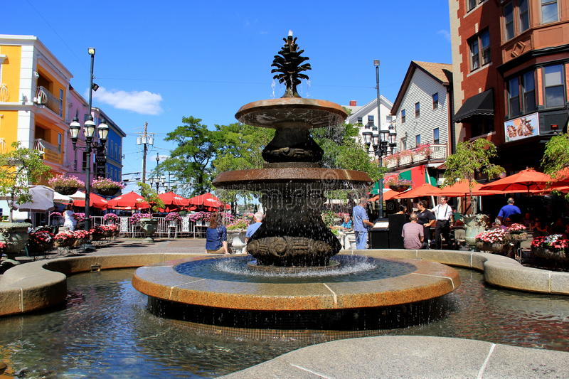 Gorgeous water fountain in center of Federal Hill, Providence,Rhode Island, 2014 royalty free stock photography