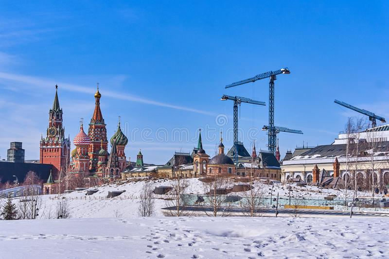 Gorgeous winter view on Kremlin from new and modern Zaryadye par royalty free stock images