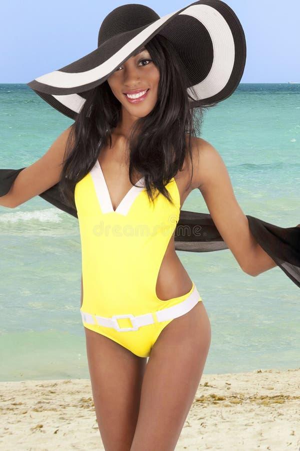 Gorgeous woman on beach stock photo