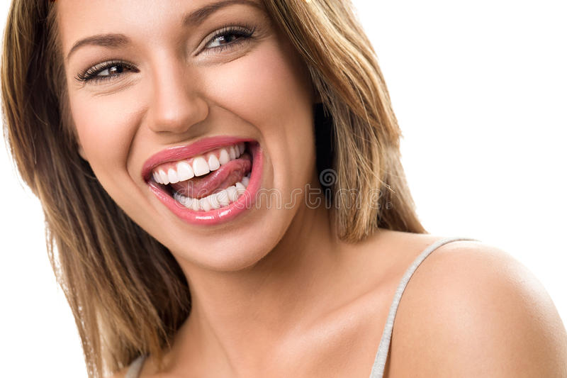 Gorgeous woman with beautiful teeth royalty free stock images