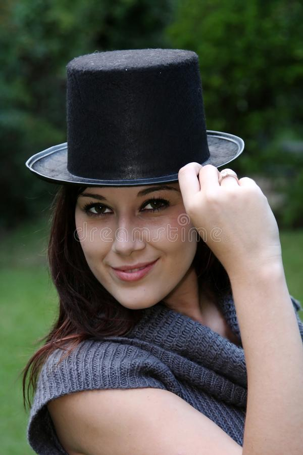 Download Gorgeous Woman In Black Hat Royalty Free Stock Images - Image: 13387199