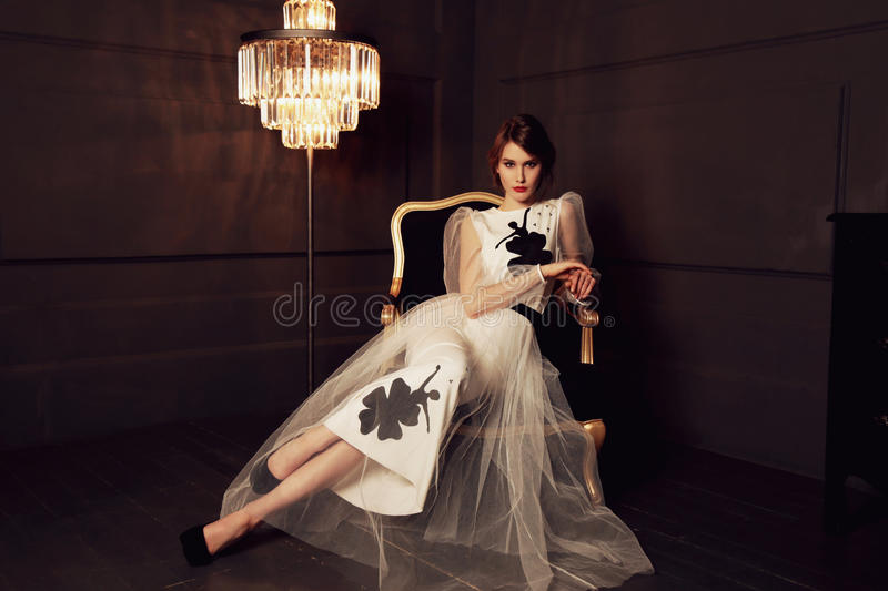 Gorgeous woman with dark hair and evening makeup in elegant dress posing in studio stock photography