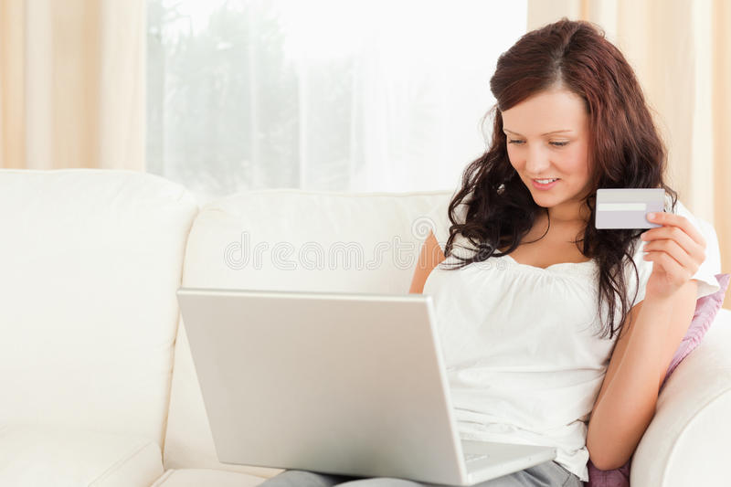 Gorgeous Woman Doing Online Shopping Stock Photo