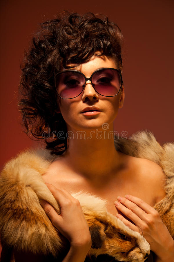Download Gorgeous Woman In Fur And Glasses Stock Image - Image: 17907335