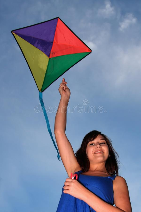 Gorgeous Woman and Kite stock images