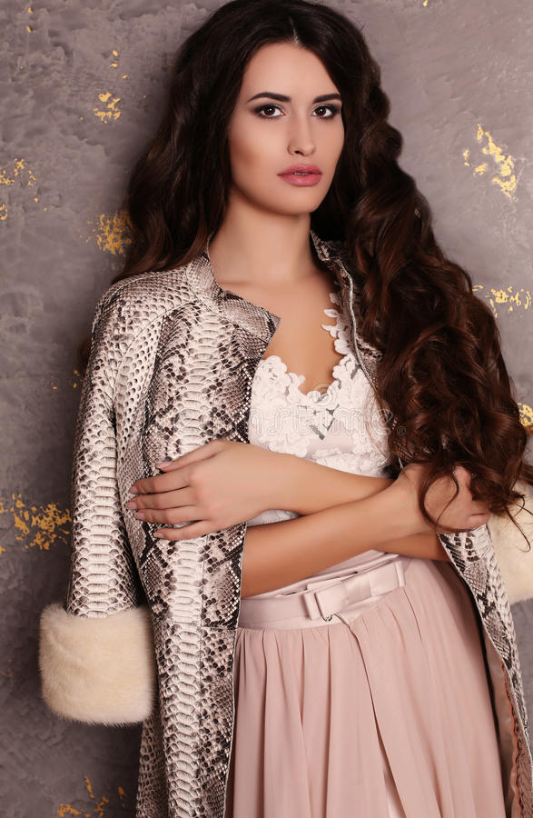 Gorgeous woman with long dark hair in elegant dress and coat royalty free stock images