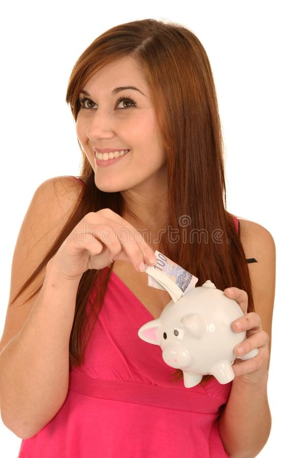 Download Gorgeous Woman With Piggybank Stock Image - Image: 14853105