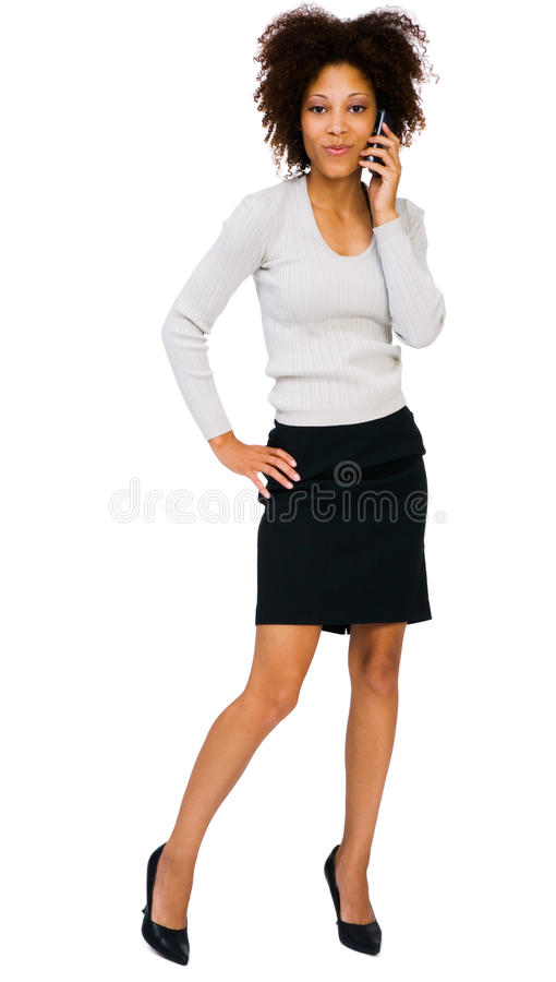 Gorgeous woman talking on mobile stock images
