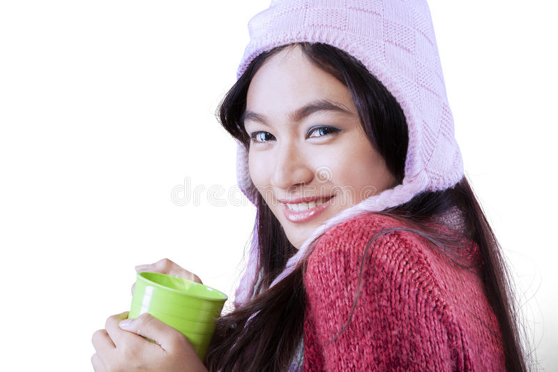 Gorgeous woman wearing winter clothes stock photography