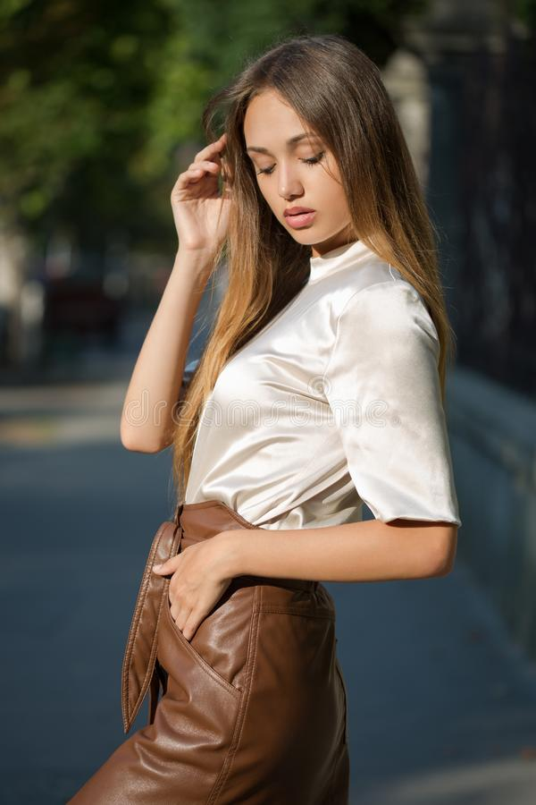Young brunette model stock photos