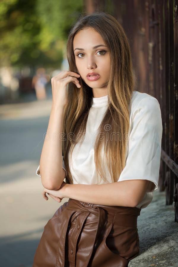 Young brunette model royalty free stock photography