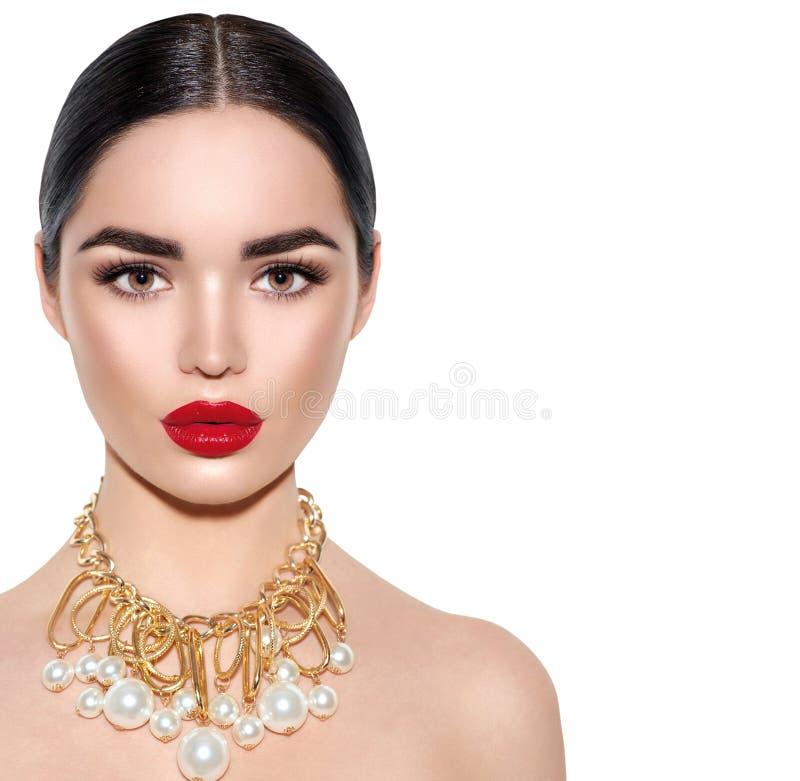 Gorgeous young brunette woman portrait stock images