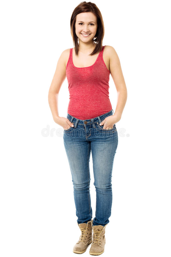 Gorgeous young girl dressed in casuals stock image